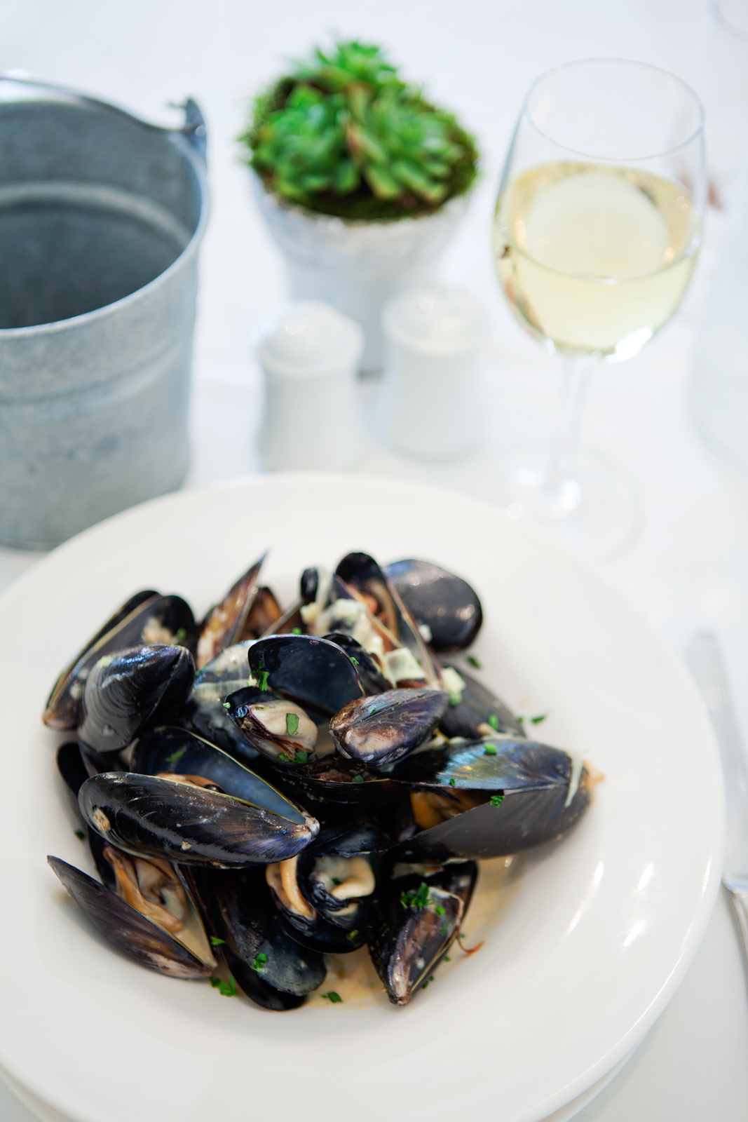 Mussels in white wine, braised leeks, shallots and cream sauce.